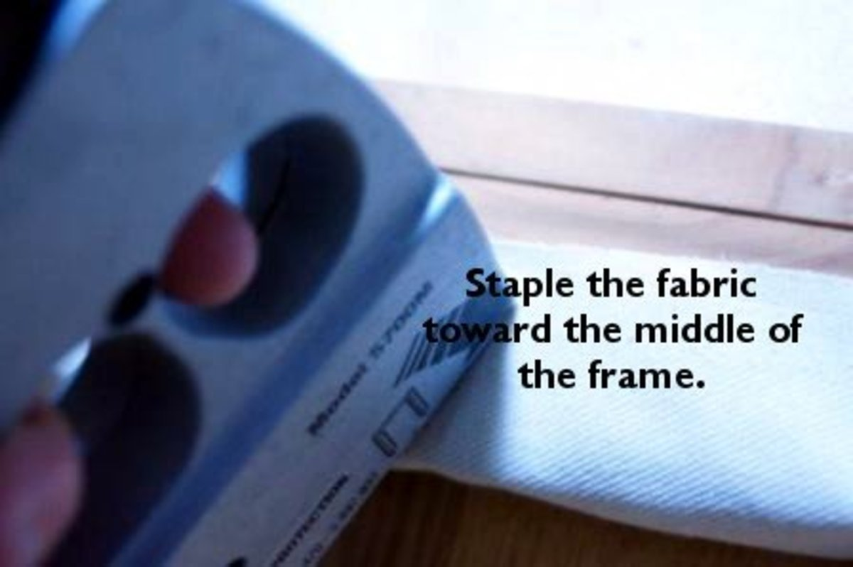 Staple opposite sides as you go, working your way out to the corners.