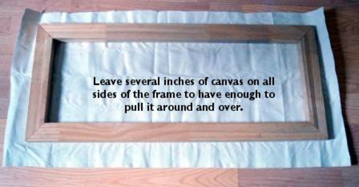 Leaving adequate amounts of canvas are necessary to fully wrap around the frame.