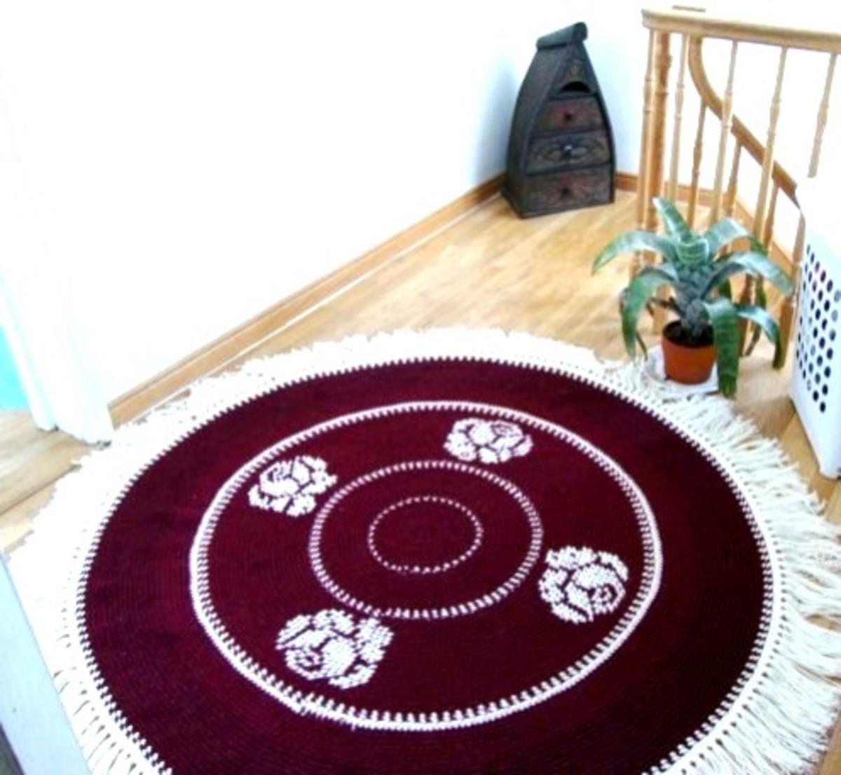 Crocheted Rug Graces Landing