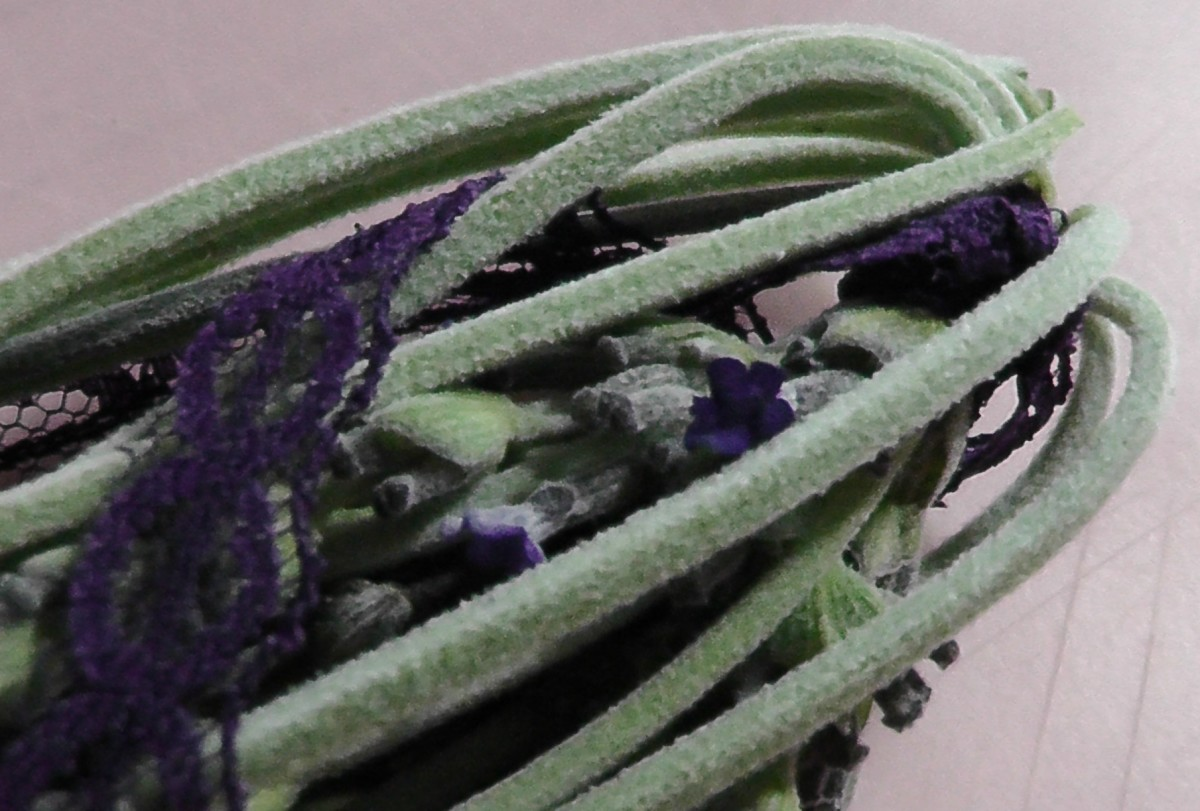 Fold back the stems to encase lavender buds and flowers.