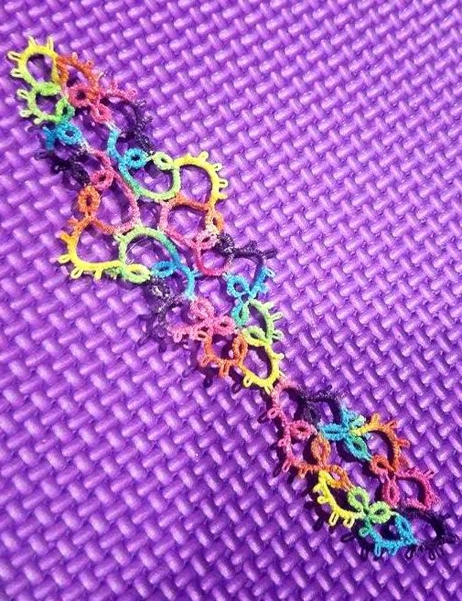 A lovely multicolored sample of tatting.