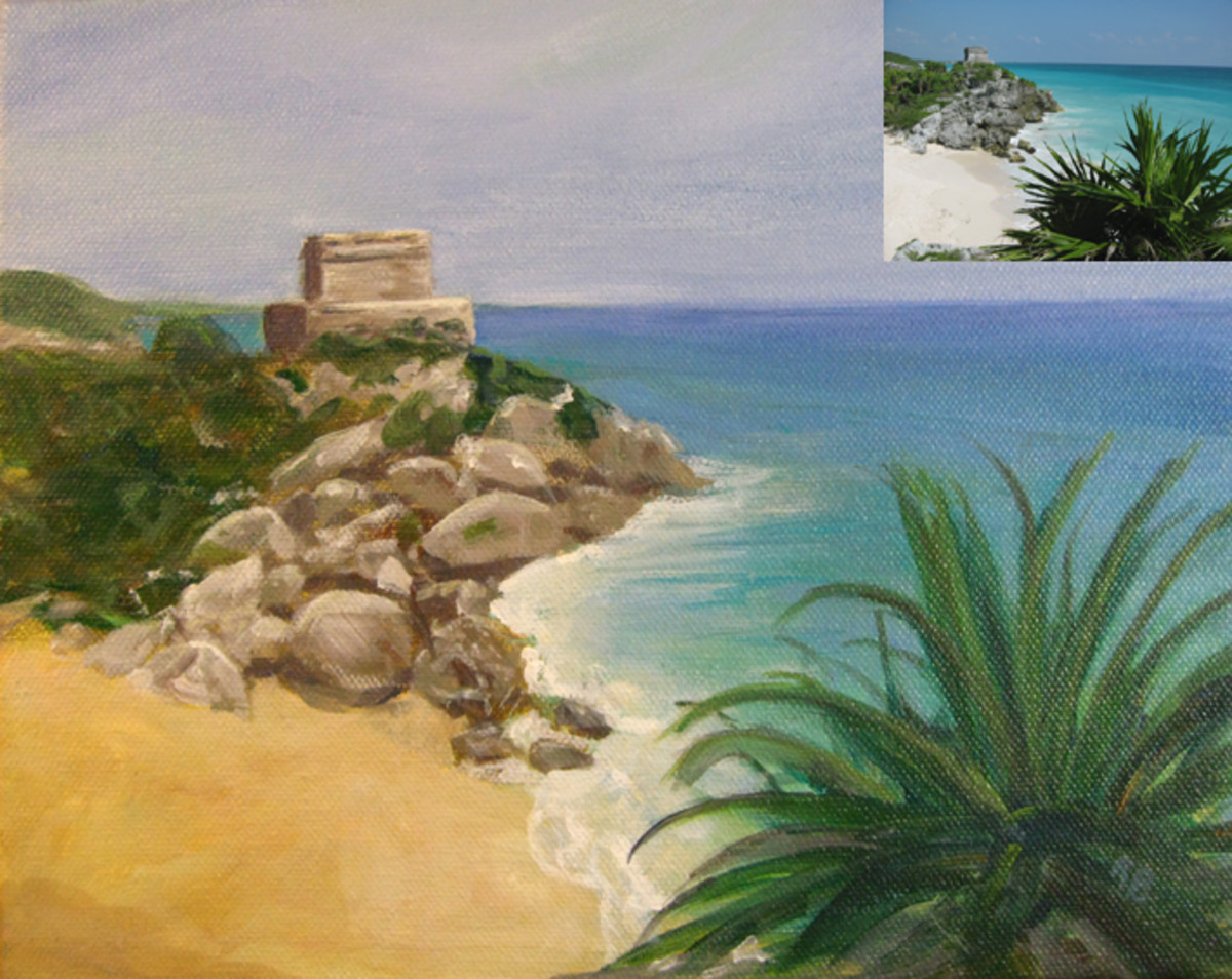 """Example of a painting I did from a photo I took, shown in the upper right corner.  —View of Tulum (8""""x10"""")"""