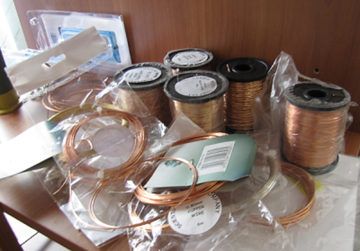 This is just a sample of the copper wire I have at home for wire wrapping jewelry, in various sizes