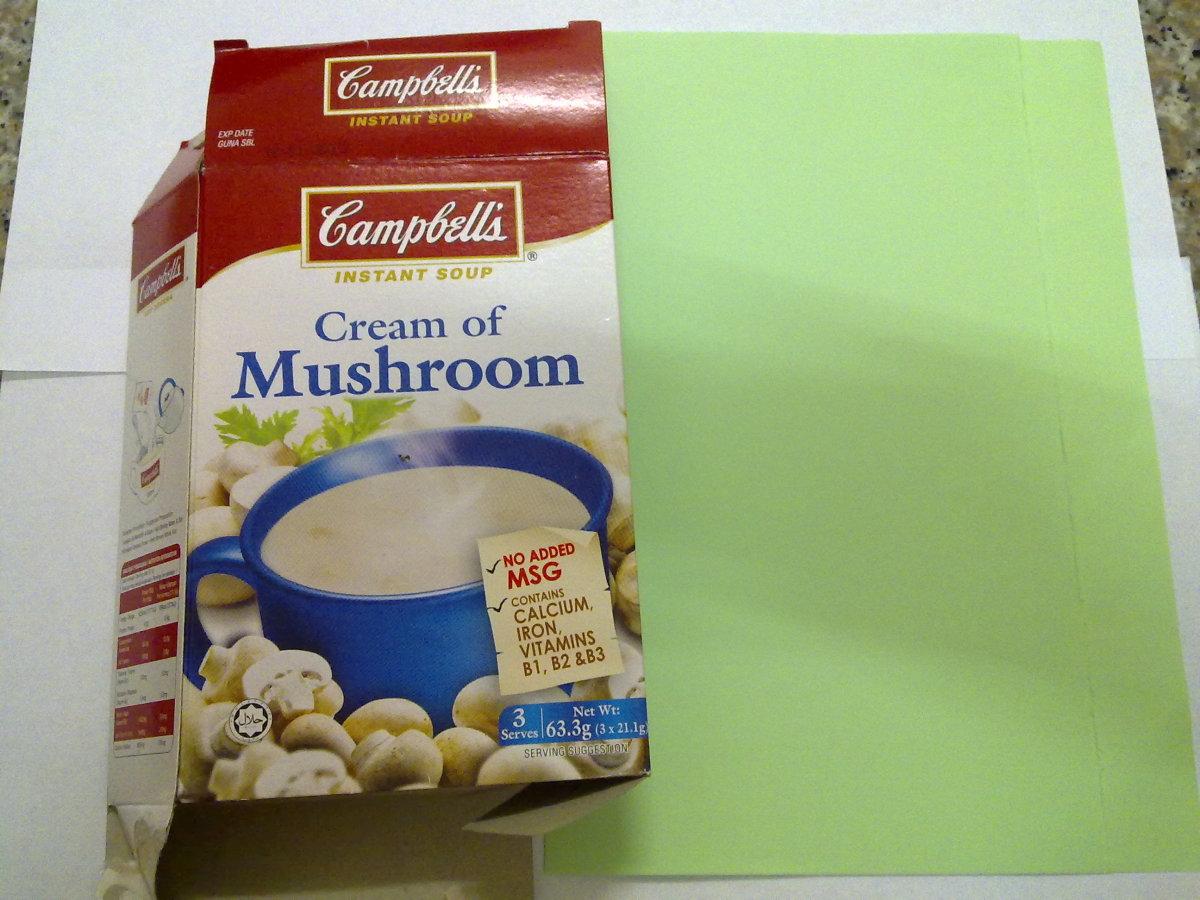Mushroom soup card box—cut them and roll them.