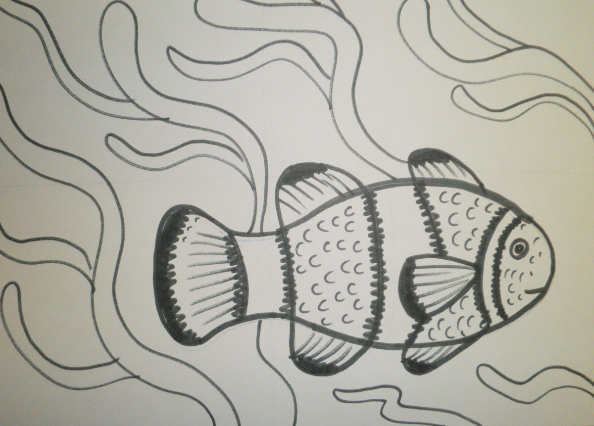 Completed drawing of a clown fish with easy to follow step by step instructions.