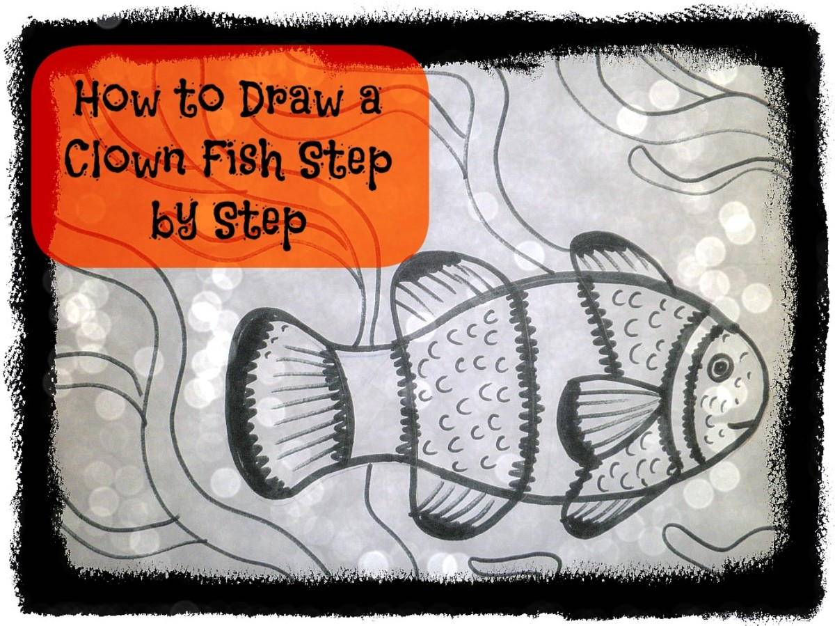 How to draw a clown fish step by step instruction.