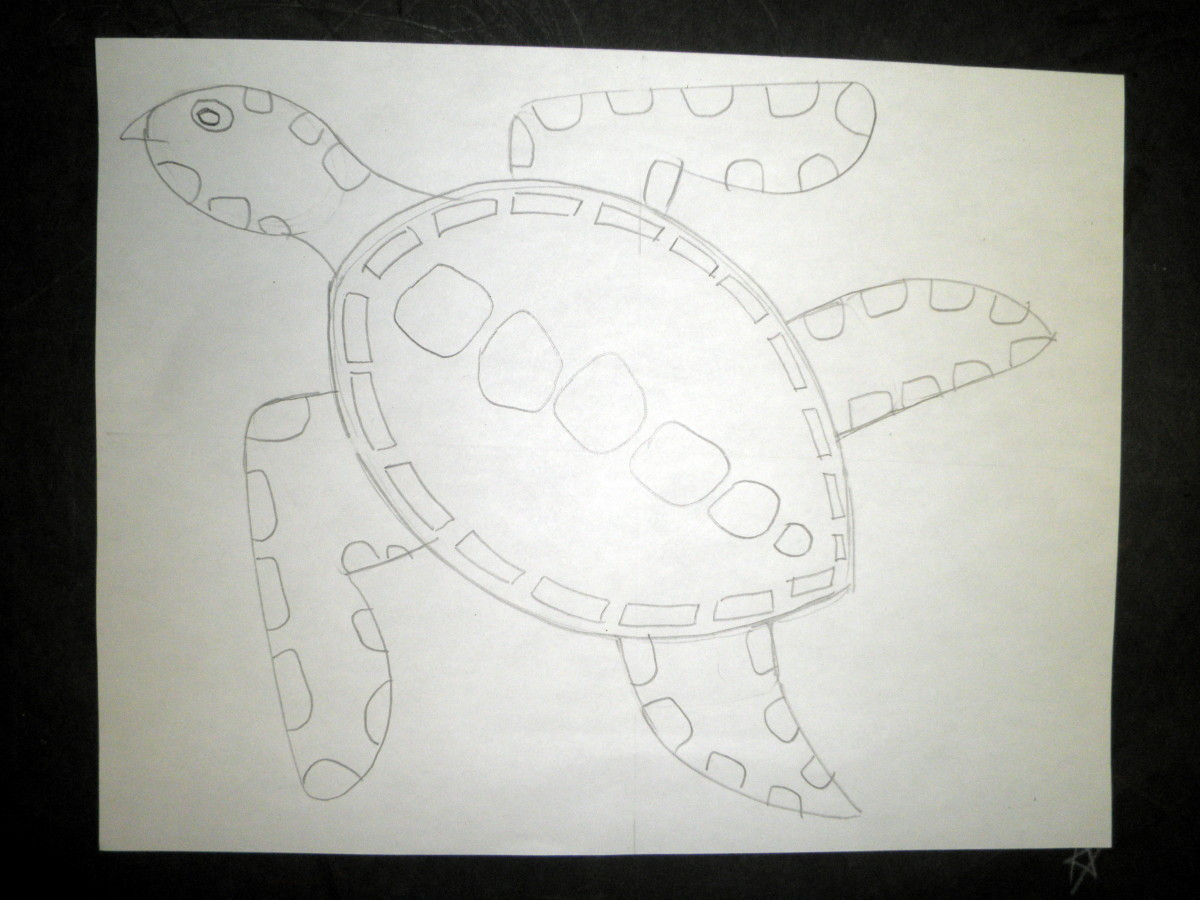 Step 3 to draw a sea turtle design and pattern