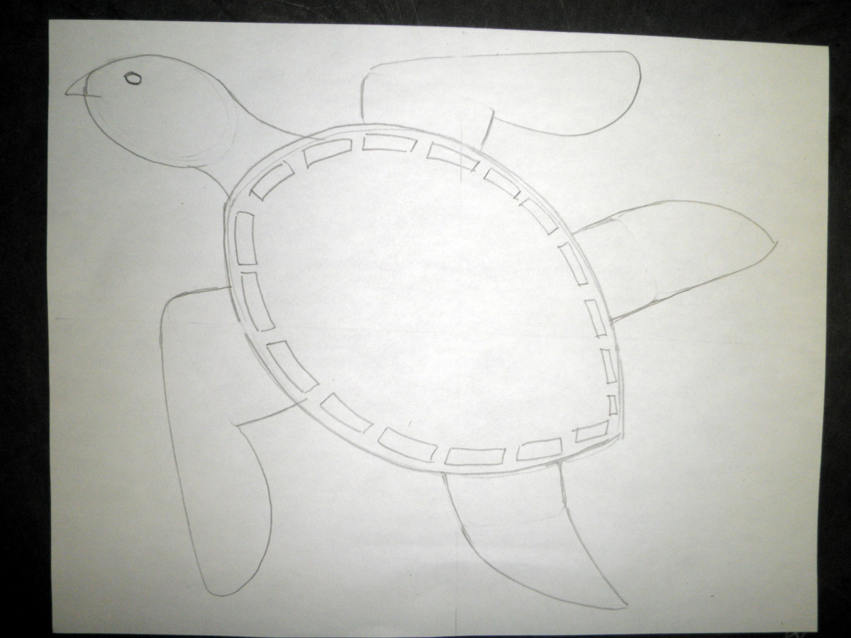 Step 1 to draw a sea turtle design and pattern