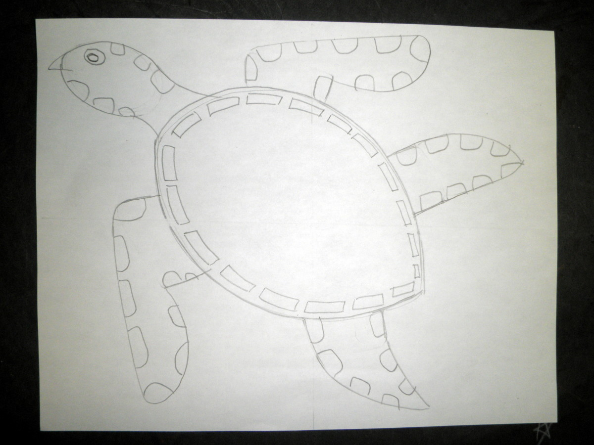 Step 2 to draw a sea turtle design and pattern