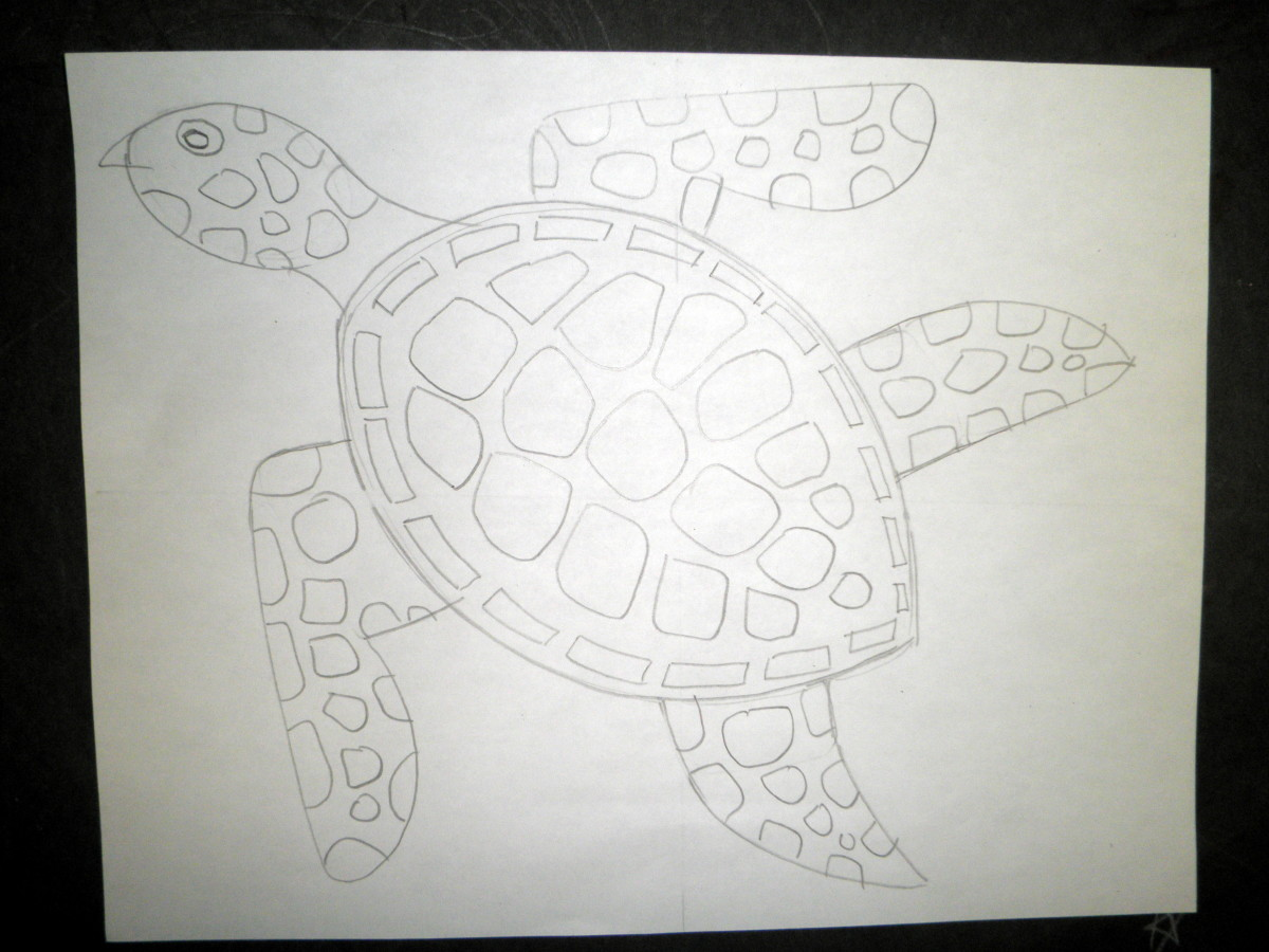 Step 4 to draw a sea turtle design and pattern