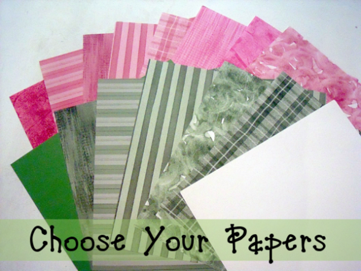 Choose Complimentary Green & Pink Patterned Scrapbook Paper For Making A Watermelon Card