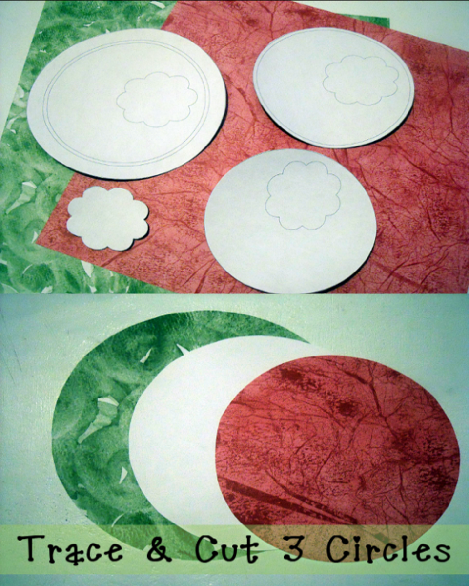Trace & Cut 3 Different Size Circles From Pink, Green & White Scrapbook Paper For Making A Watermelon Card