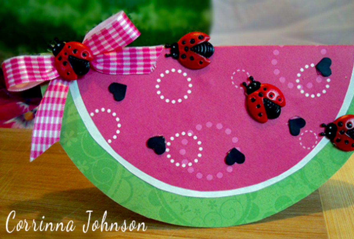 How To Make A Watermelon Card With Ladybugs And A Pink Bow