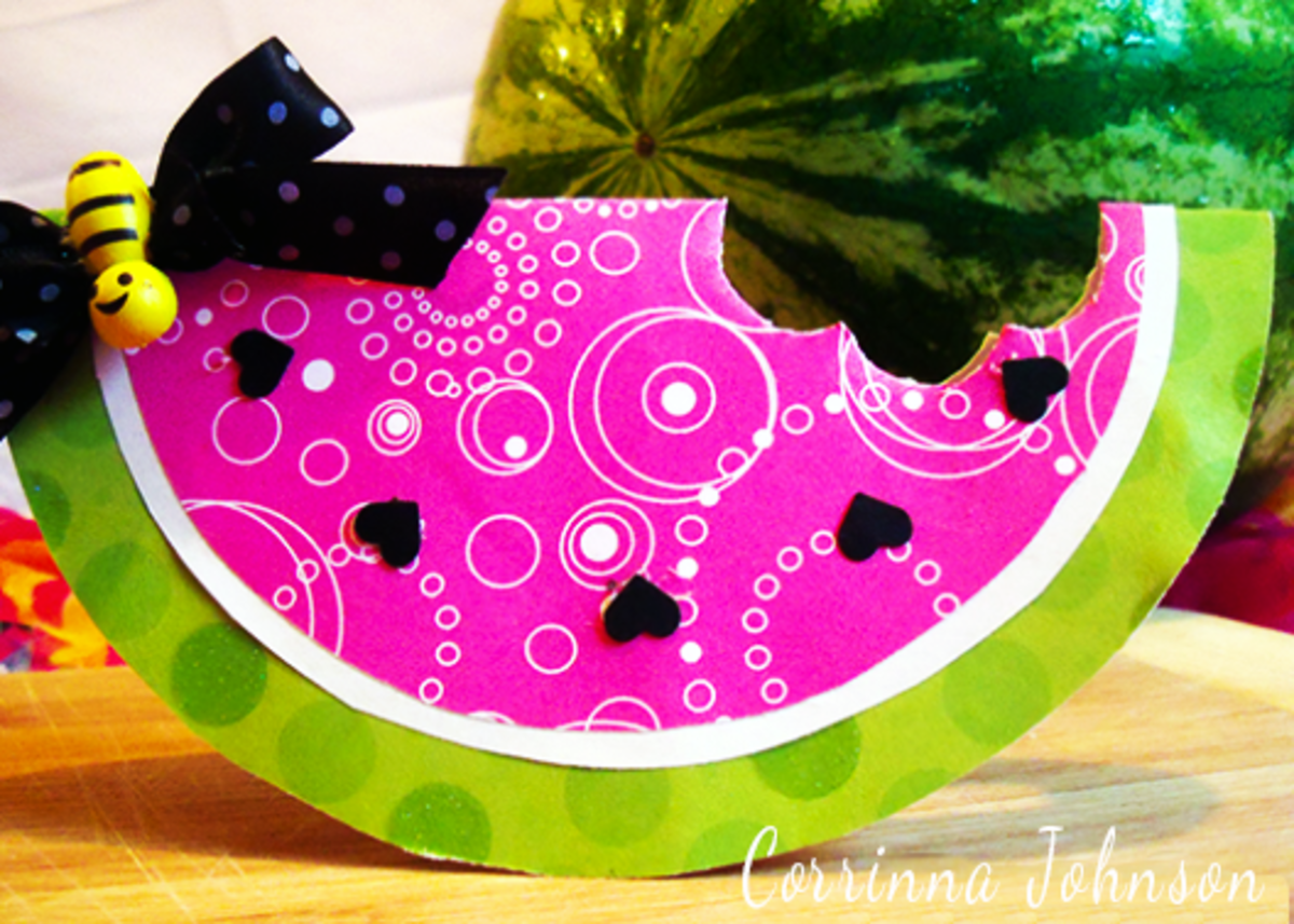 DIY Watermelon Card With Heart Seeds And A Yellow Bee