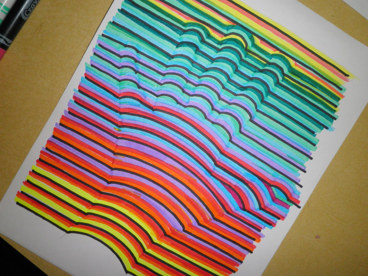Rainbow colored hand-print art lesson. Step by step tutorial on how to draw a handprint in 3D.