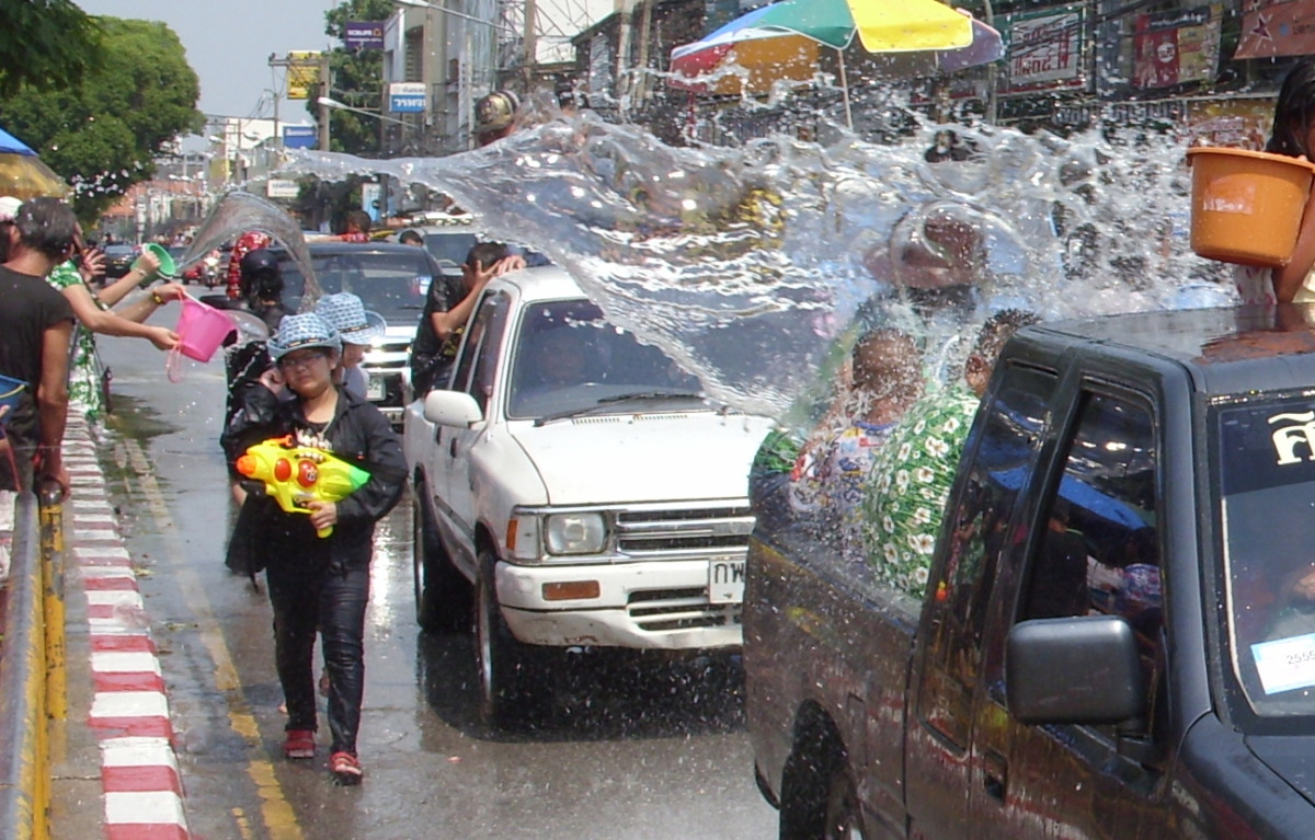 Editorial shot of a newsworthy event (annual water-throwing festival in Thailand).