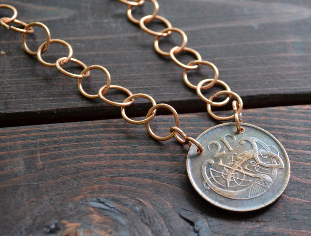 Coin necklace with a different (but also hand made) chain.