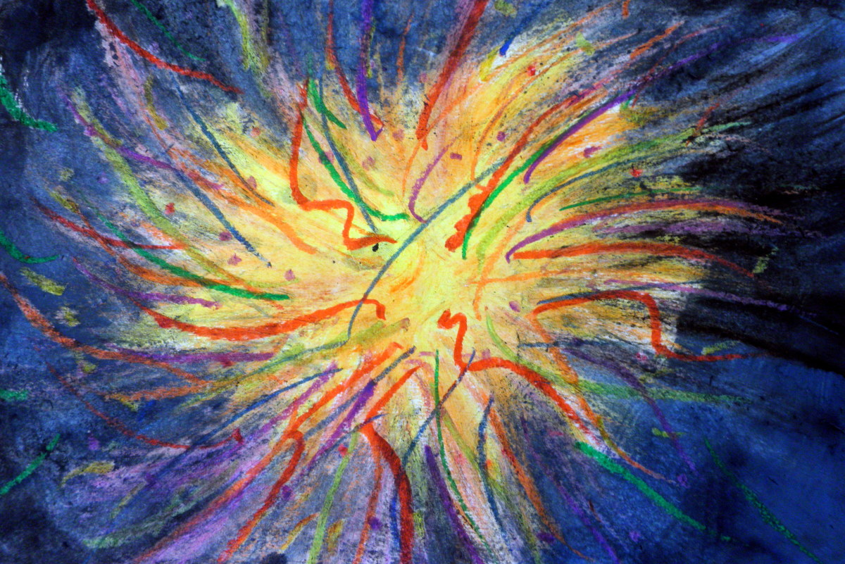 Fireworks and 4th of July artwork done with oil pastels and watercolor. Step by step lesson. Blue and black watercolor can be mixed for the background. Sydney did this one.