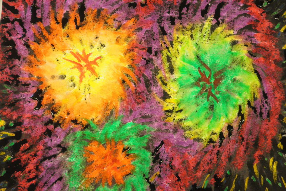 Fireworks colored with oil pastel then painted in watercolor. Step by step how to do this. This one looks like 60's fireworks!