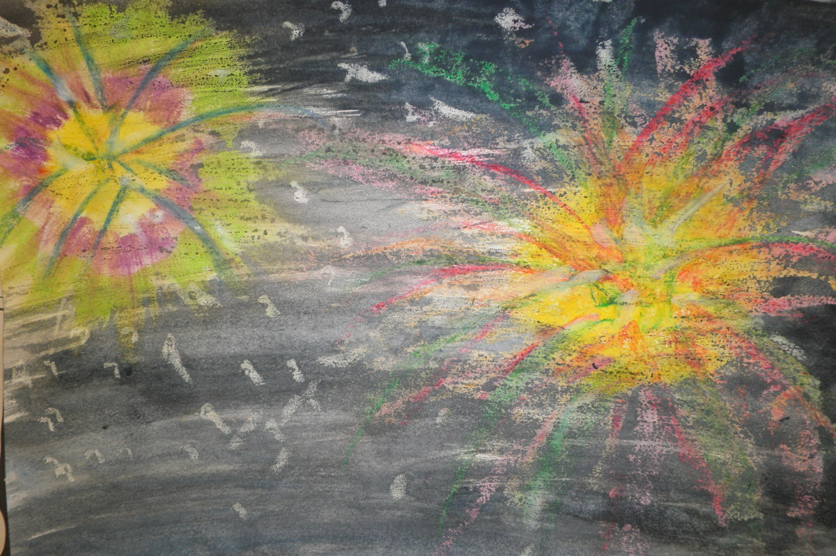 Fireworks colored with oil pastel then painted in watercolor. The watercolor resists the oil.