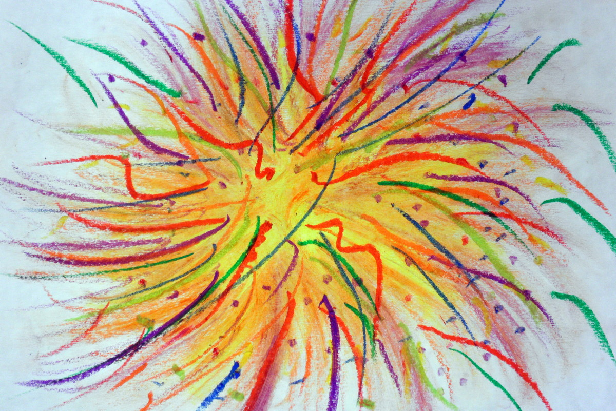 Fireworks and 4th of July artwork done with oil pastels. Although beautiful as is, by adding the next step it makes it look like nighttime, which is when fireworks light up the sky.