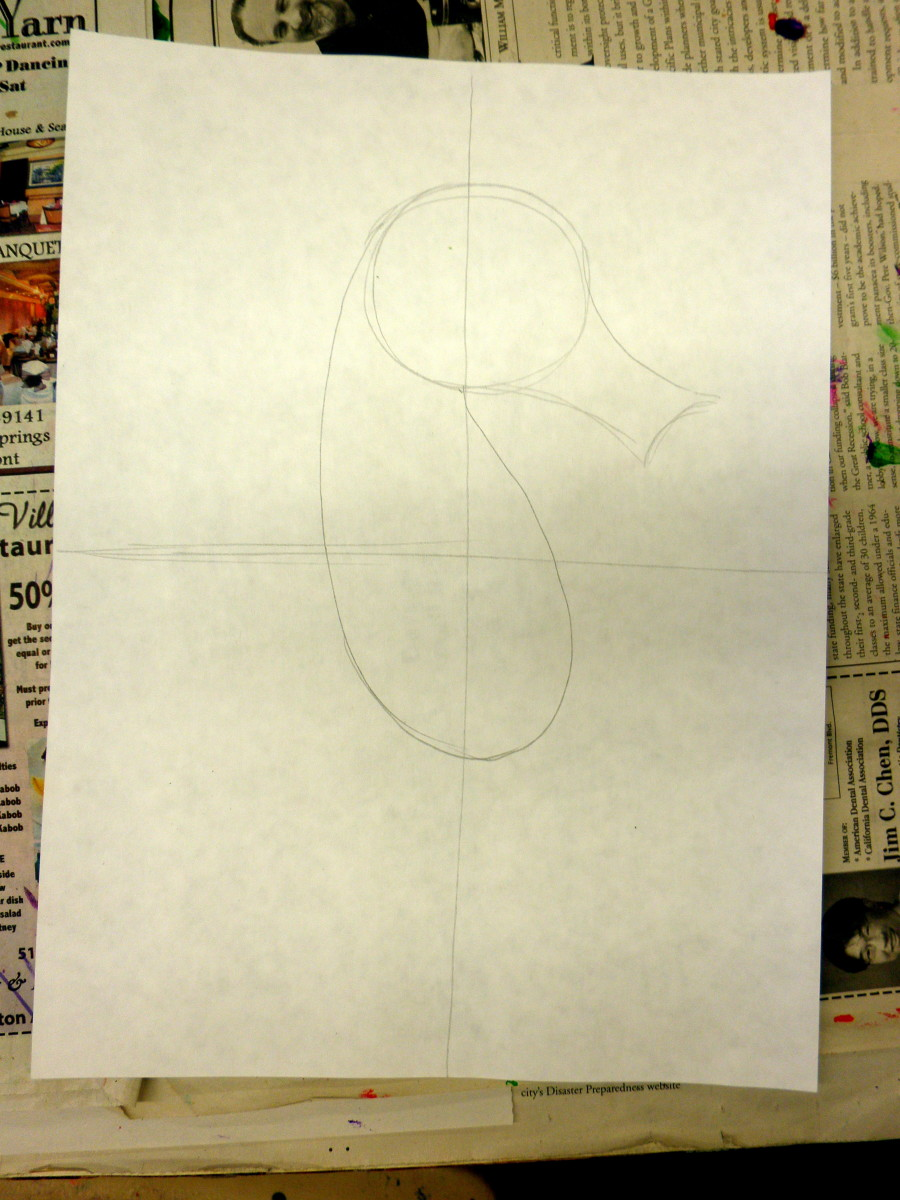 In step #2 add the body of the seahorse. Notice the shape that I used - a stretched out oval type shape attached to the circle. For smaller kids they can just draw an oval.