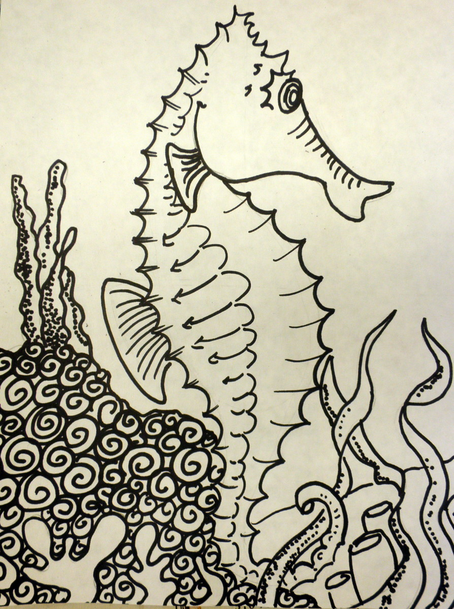 Finsished drawing of a seahorse completed in black Sharpie. You can add in all the details inside the seahorse and also draw in his habitat.