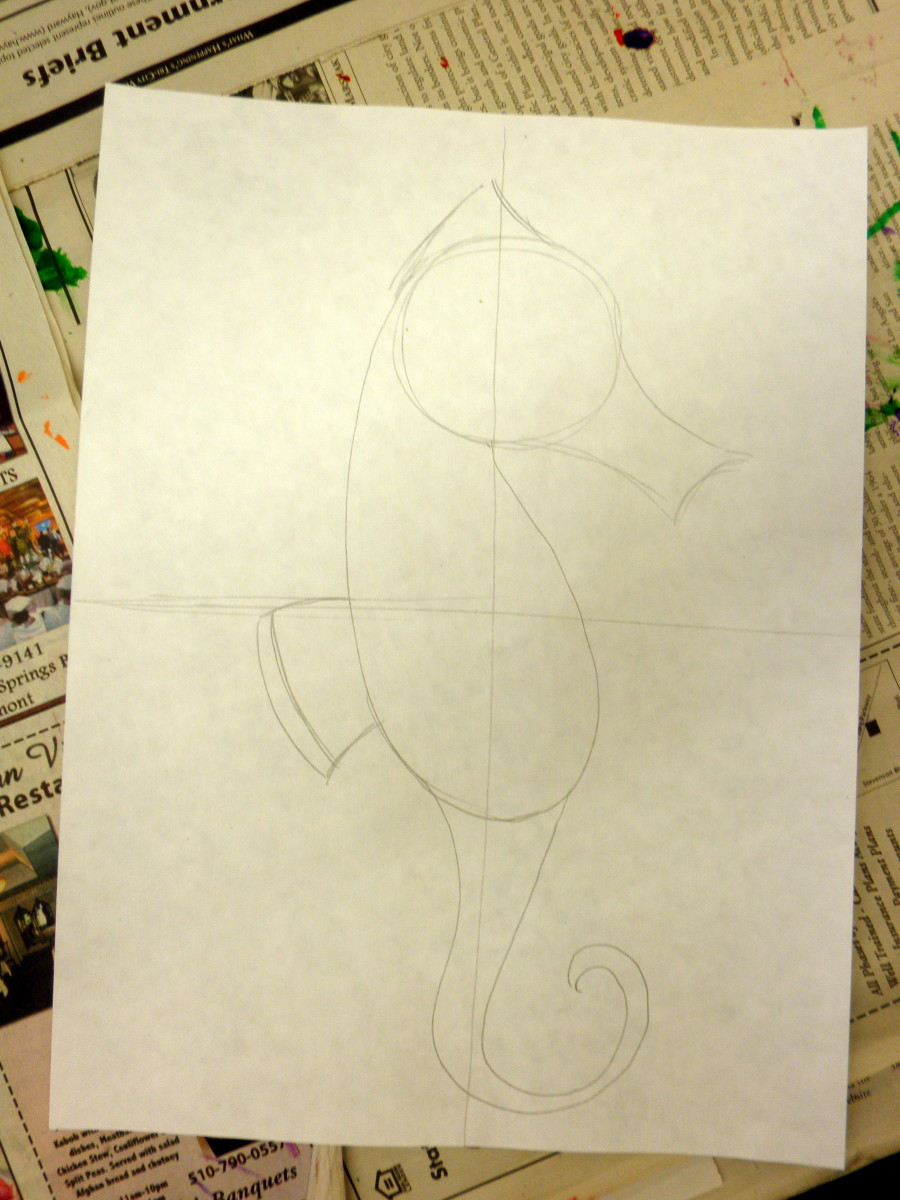 "For step #5 add the ""ear"" or ""crown"" at the top of your seahorse drawing."
