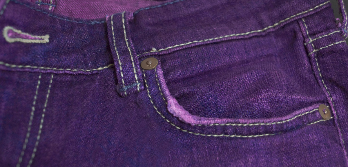 Give your denim a new lease on life by dyeing your jeans a different color. These jeans were colored with Rit dye.