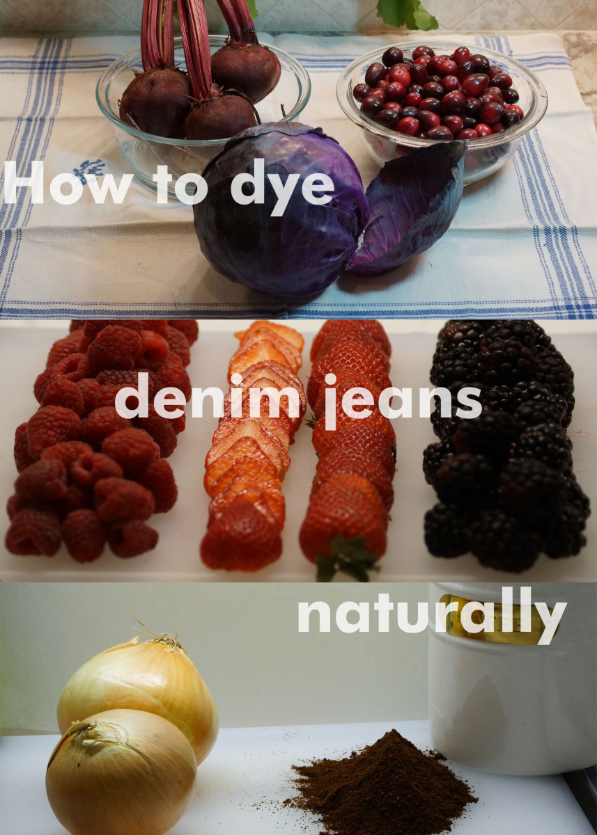 How to dye your jeans with natural food and herbs.