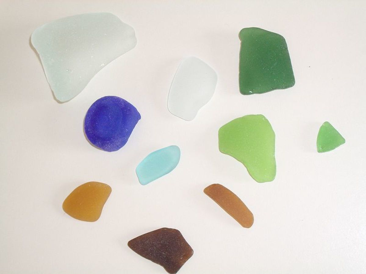 Sea glass is naturally tumbled and polished over time by the sea and can be found in a variety of colours.