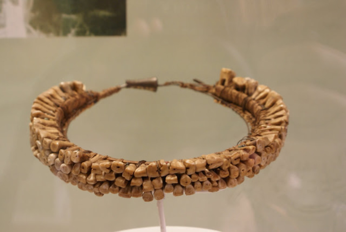 Human teeth necklace (vuasagale) displayed in The National Museum (or Museum Gajah) in Jakarta, Indonesia