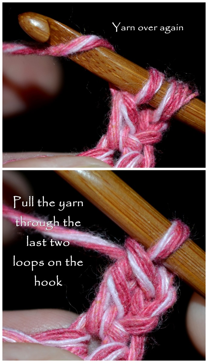 Yarn over again, and pull the yarn through the last two loops on the hook.