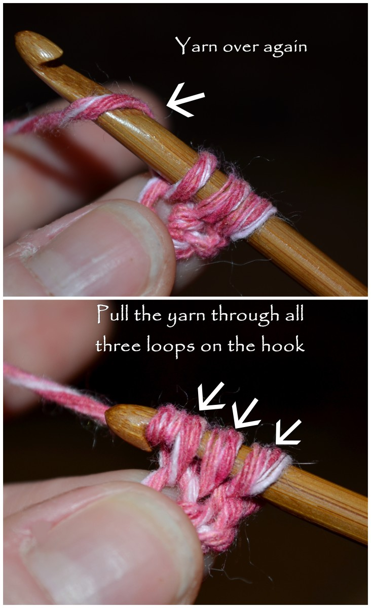 Then yarn over again and pull the yarn through all three loops on your hook.