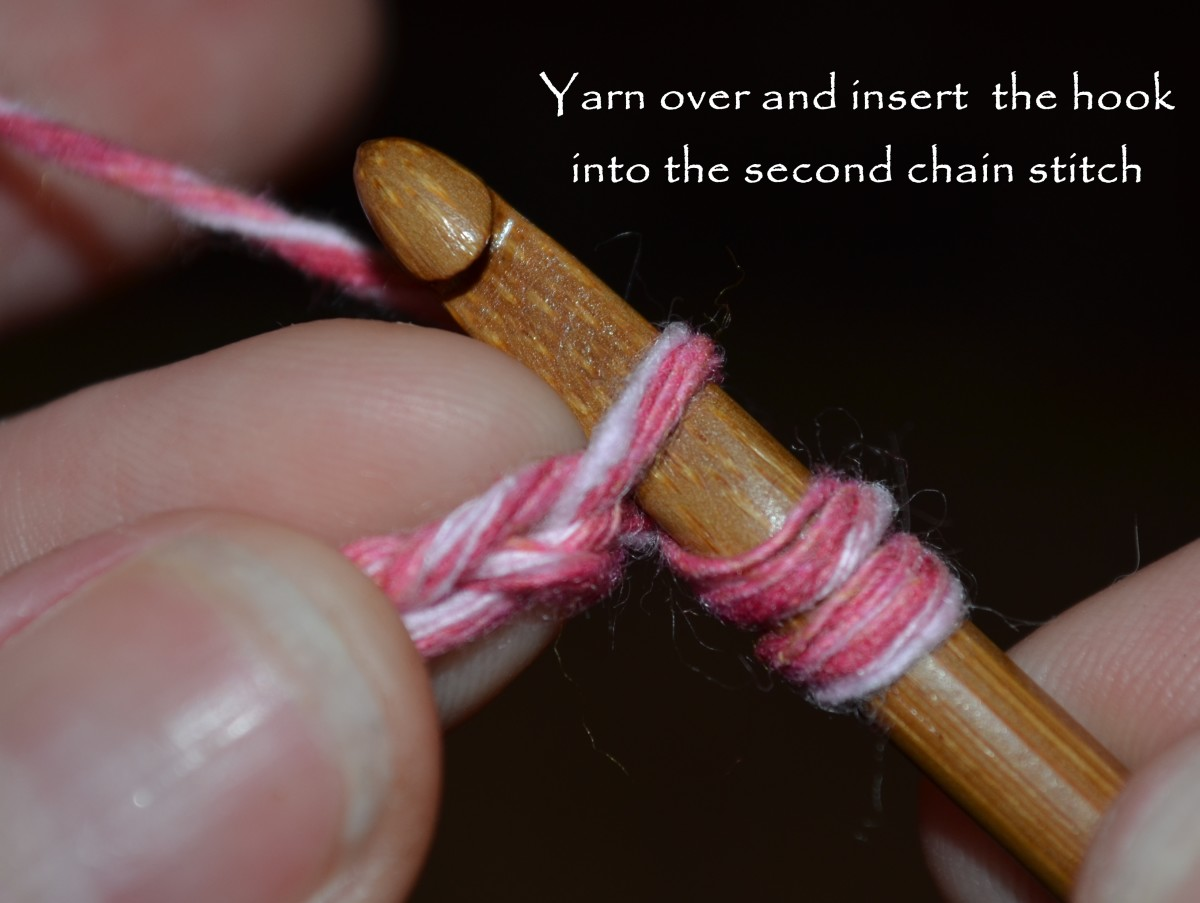 Yarn over and insert the hook in the second chain stitch