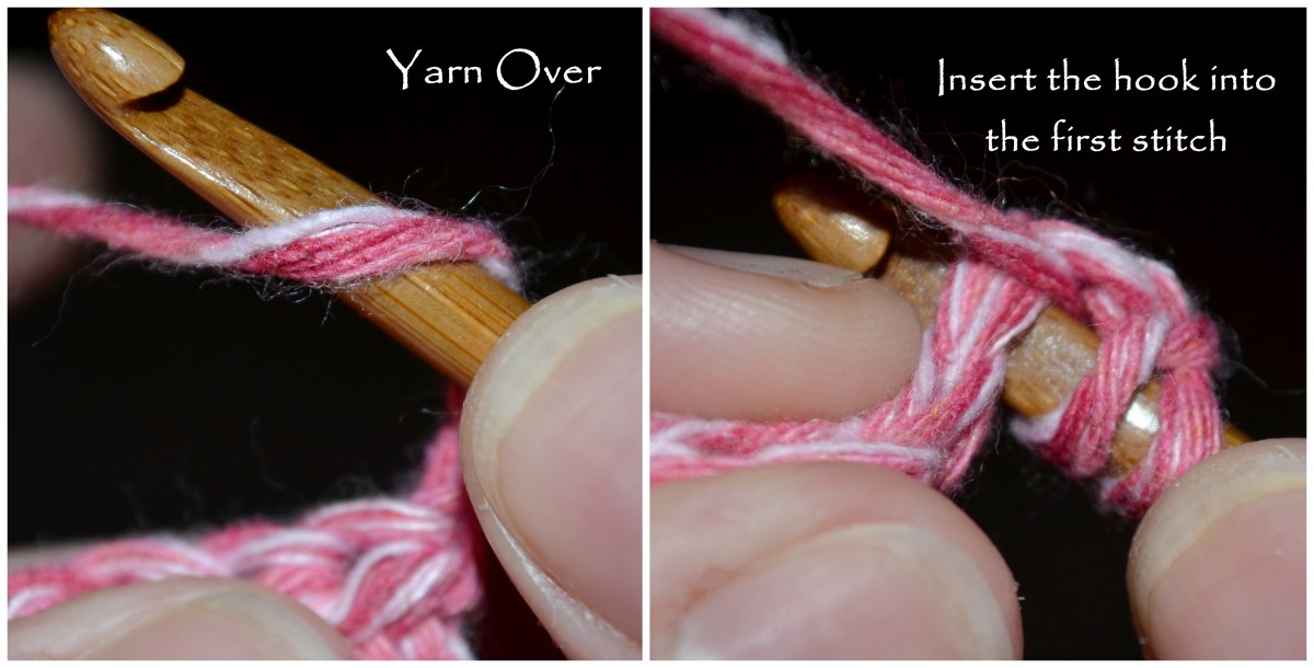 Yarn over, and insert the hook into the first stitch.