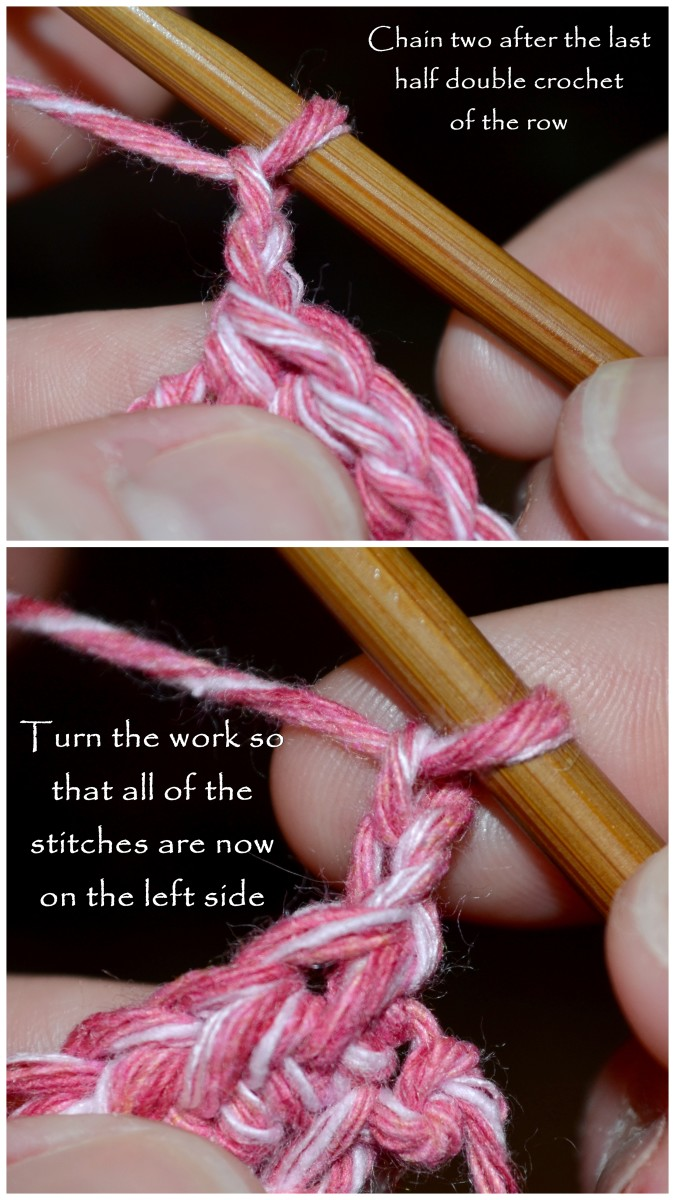Chain two after you've completed the last half double crochet of the row. Then turn the work so that all of your finished stitches are now on the left side your hook.