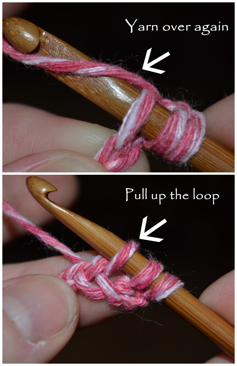 Yarn over, and then grab the yarn and pull it through the chain stitch, pulling up a loop.