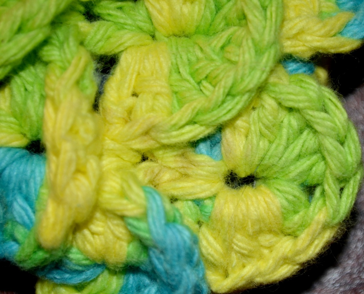 Close up of the crocodile stitch