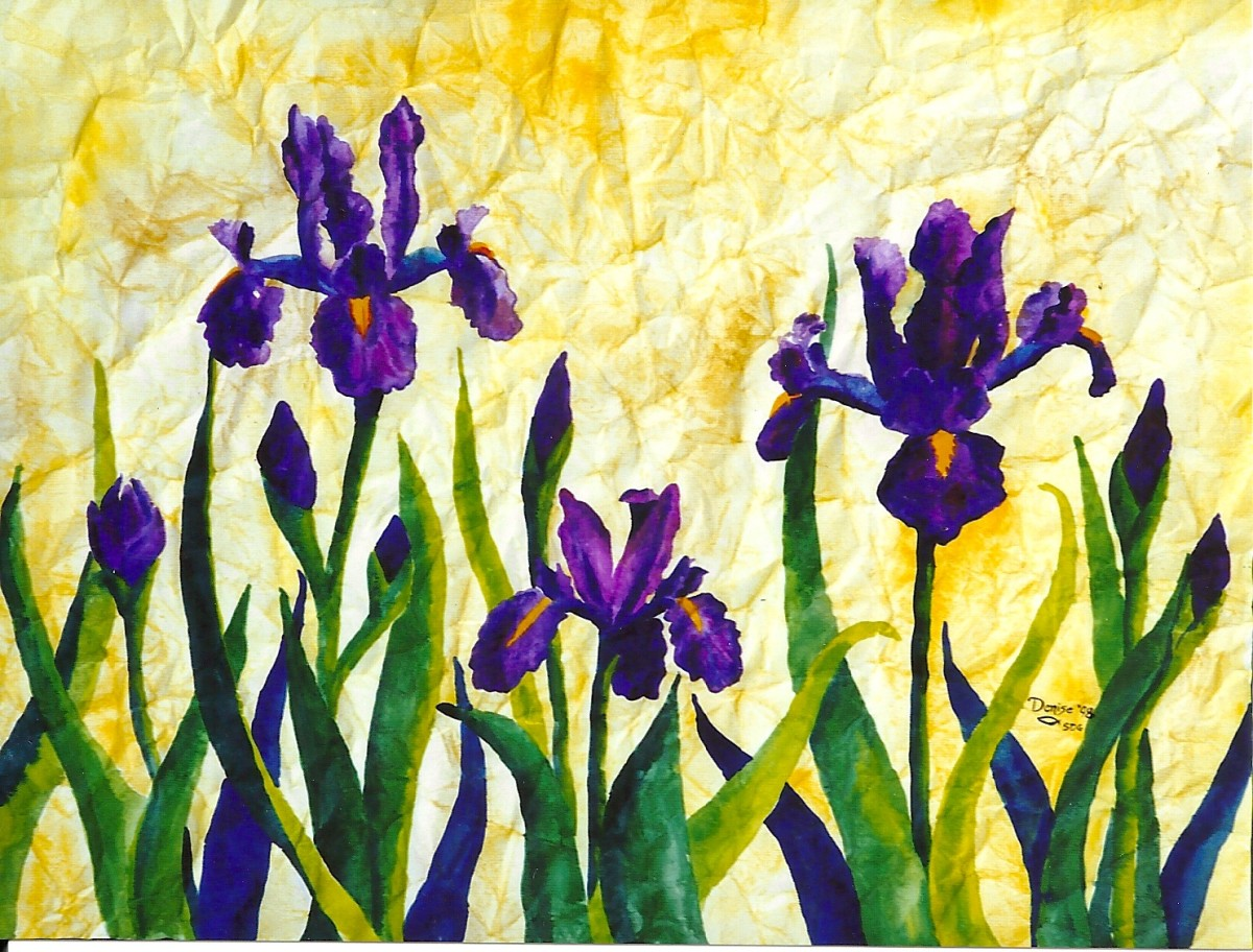 Purple Irises—watercolor on wrinkled paper