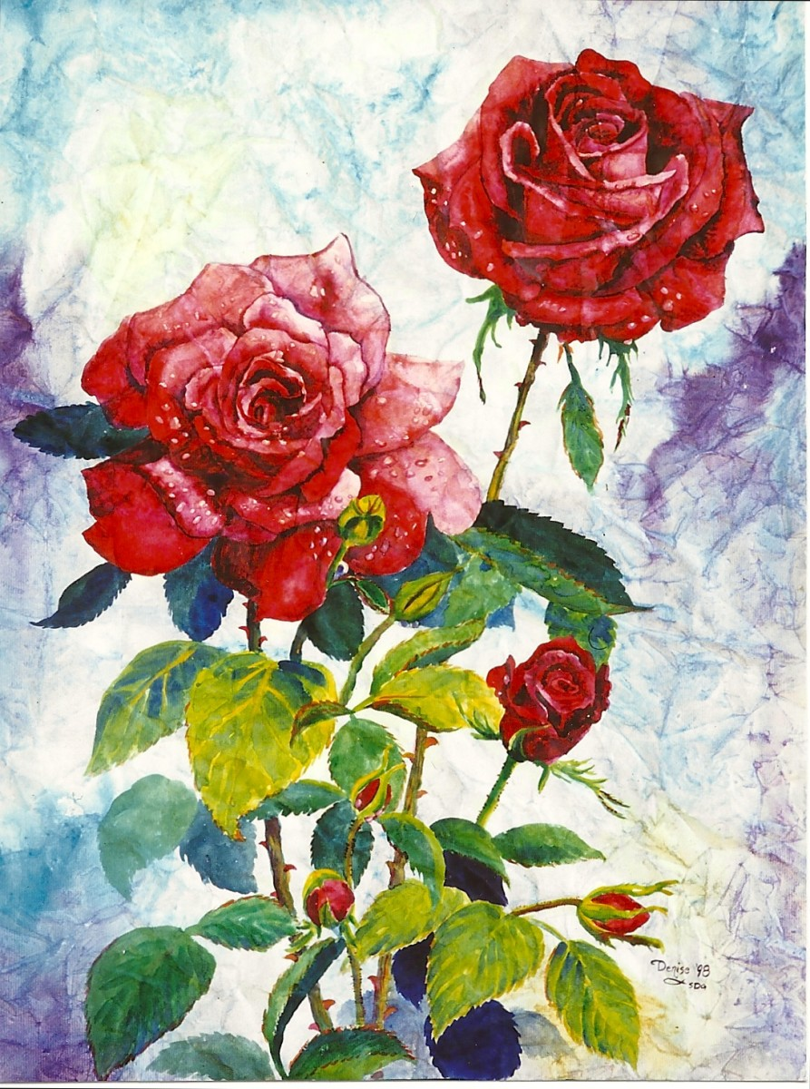 Red Roses—watercolor on wrinkled paper