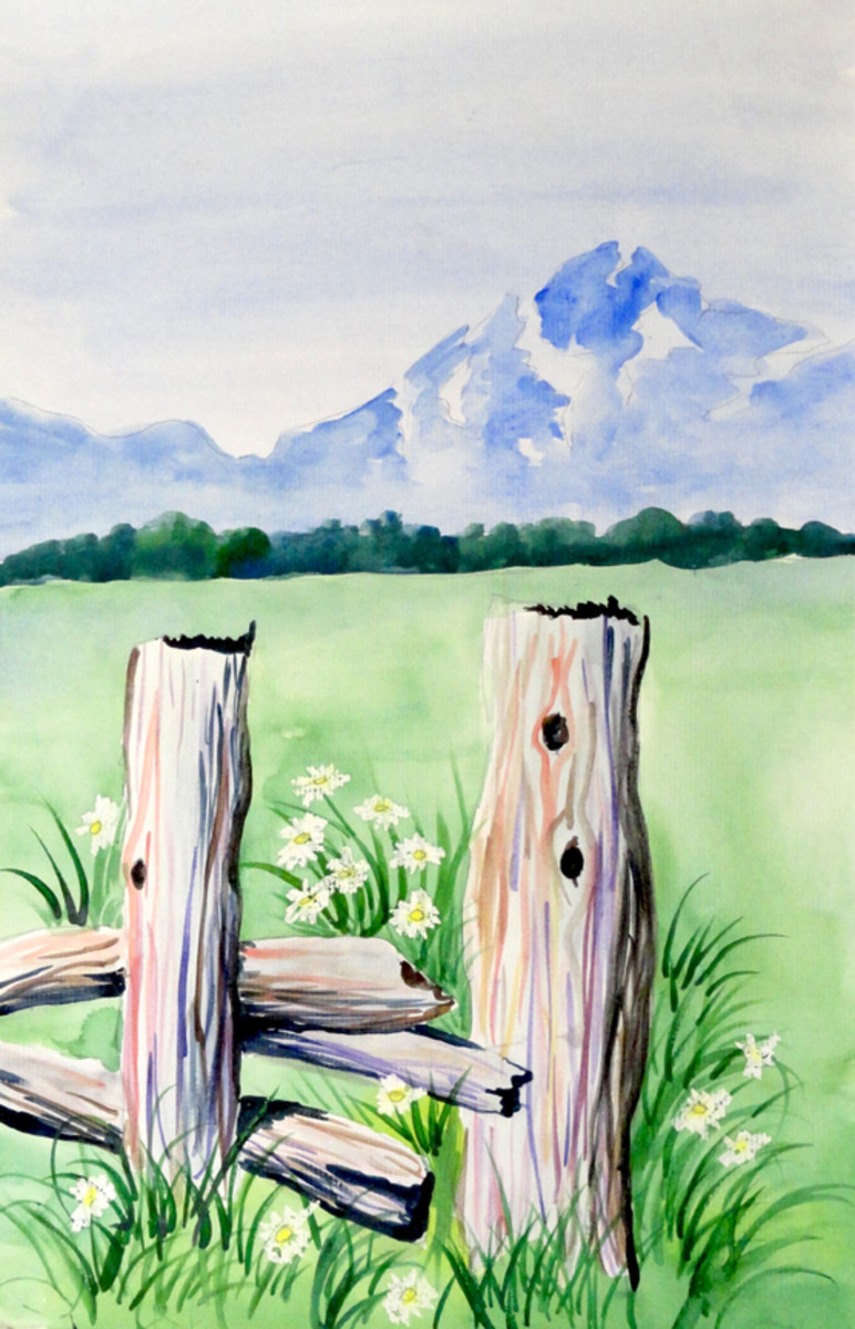 """In """"Fence Posts,"""" notice that the sky is painted all the way down to the tree line. The blue mountains make the snow look white, but it is really sky blue."""