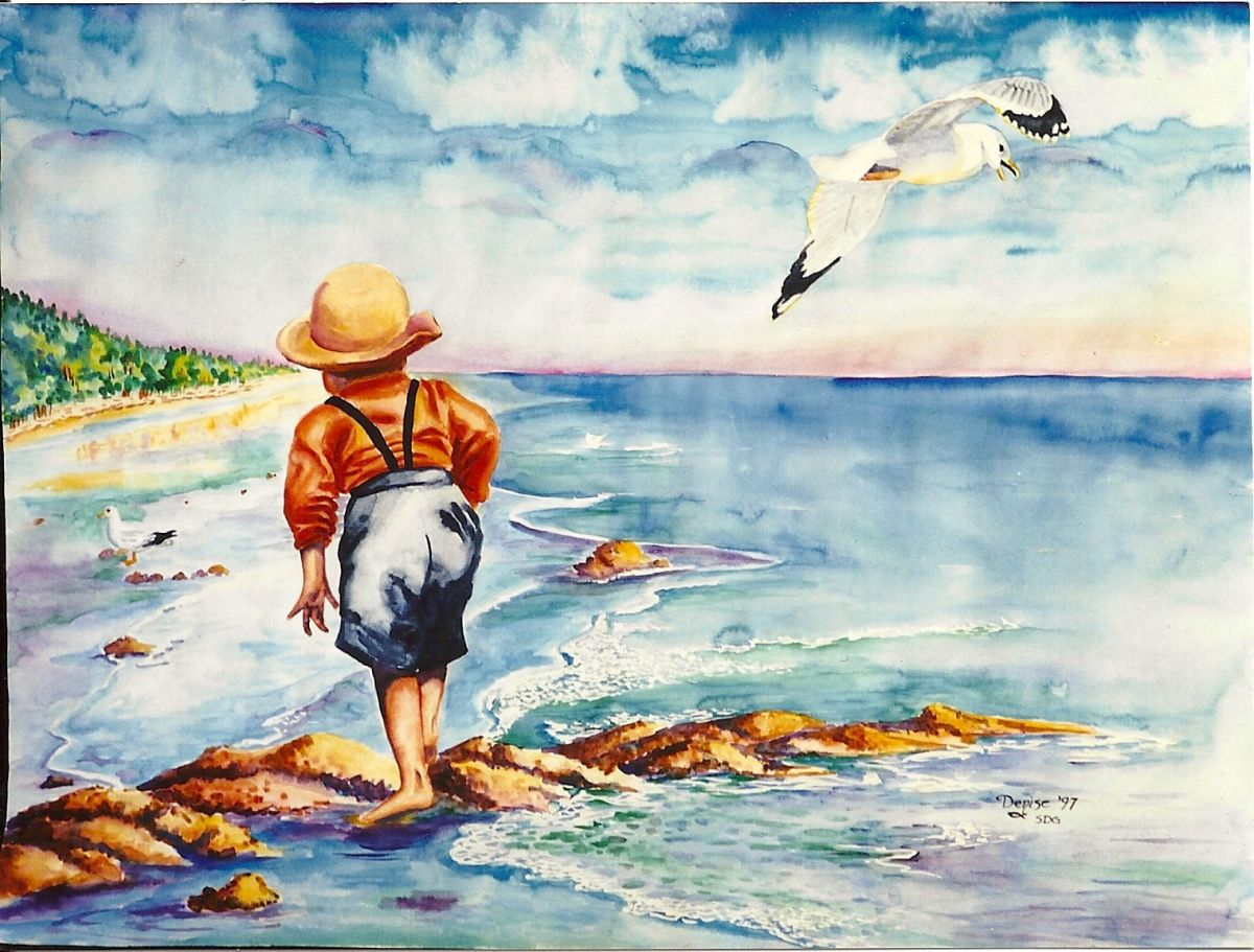 """In """"Seagulls,"""" you can see I was using a rather small brush because I have unfortunate streaks in the sky."""
