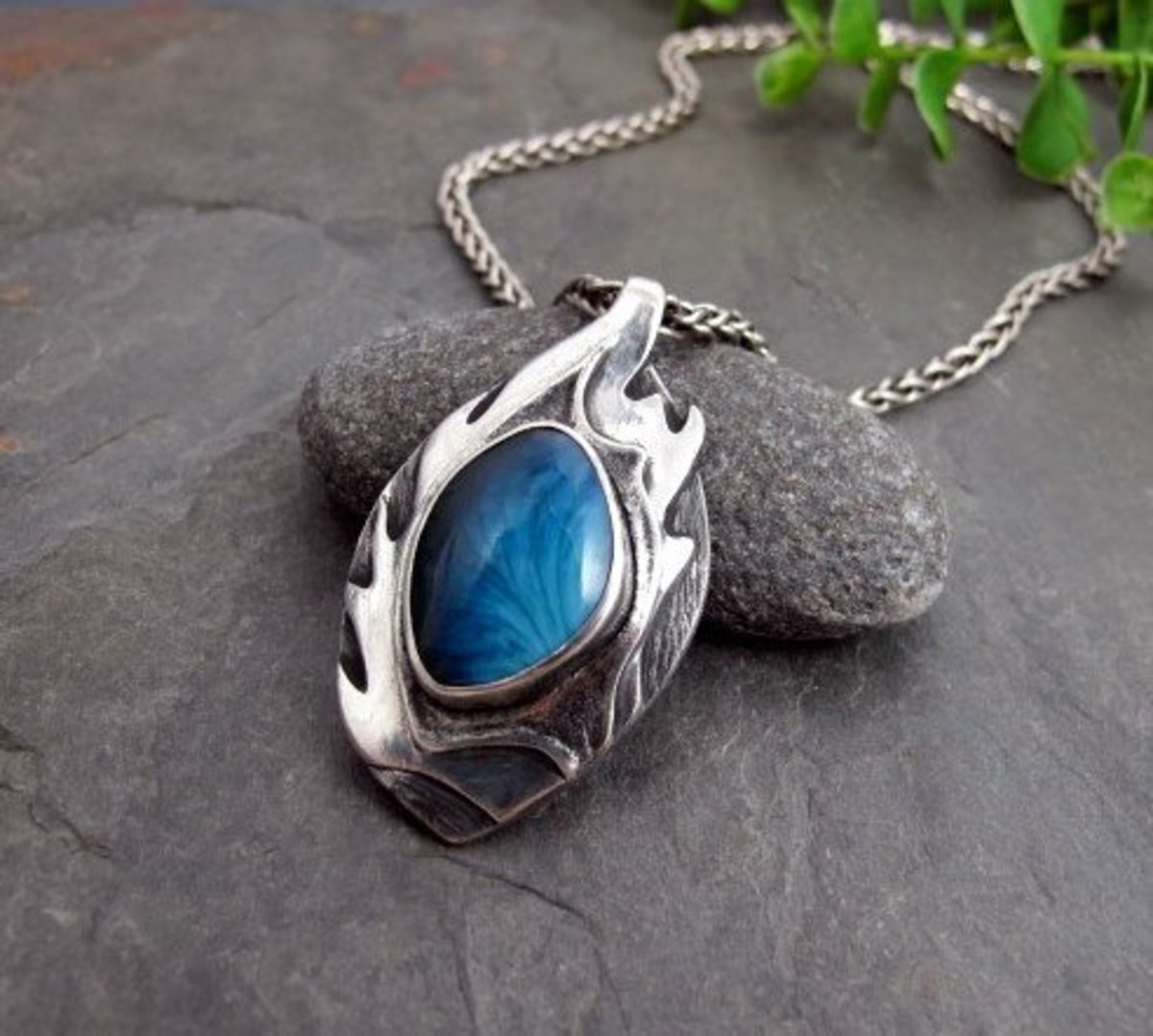 Bezel set Swedish Blue stone silver pendant