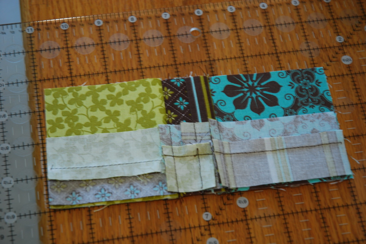 Always lay the small piece over the large piece to line up fabrics (I exaggerated the edge in the picture so it would be clearer to see).
