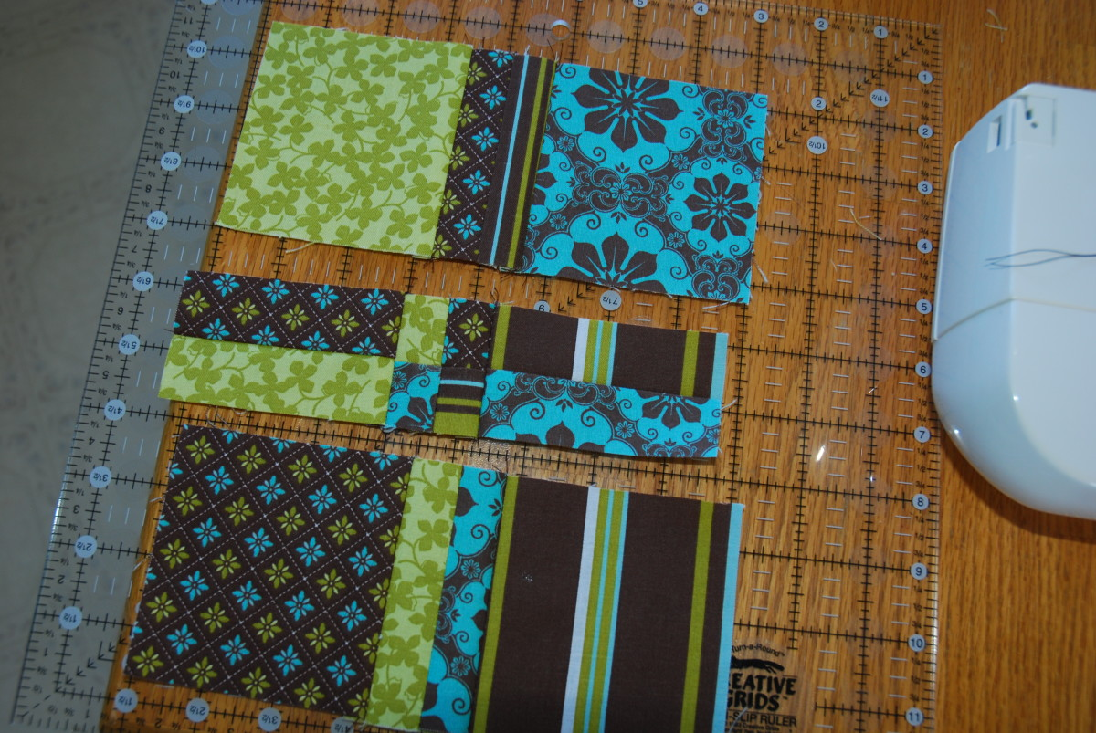 Sew the pieces up in strips