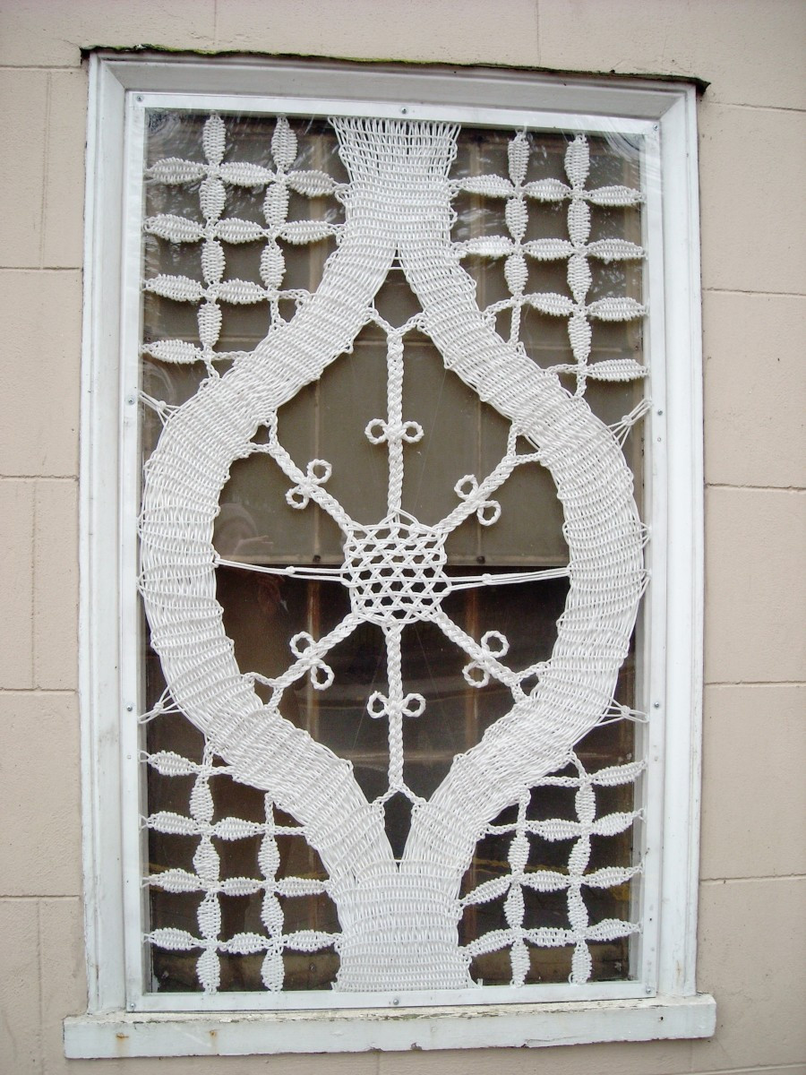 Macramé window decoration.