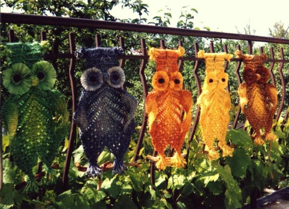 Macramé owl wall hangings.