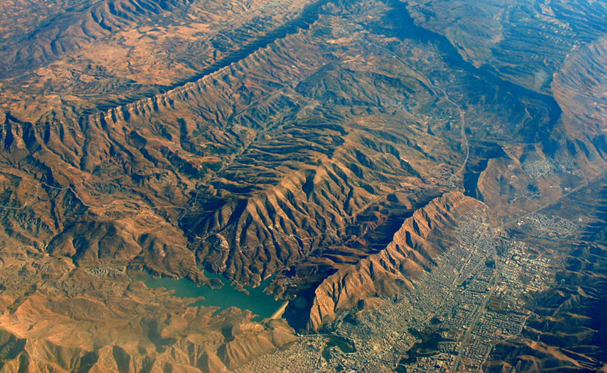 Iran mountains and city