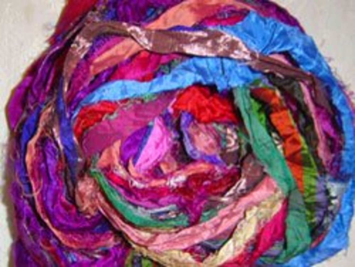 Sari ribbon is also good for crotchet and knitting and is also flexible. It produces a more textured result.